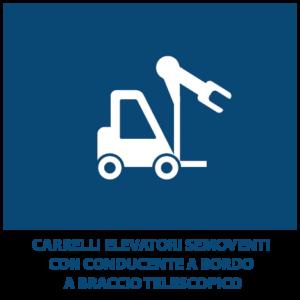 Carrelli elevatori semoventi con conducente a bordo a braccio telescopico